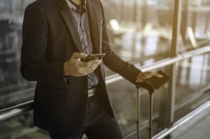A businessperson creating an invoice on the go