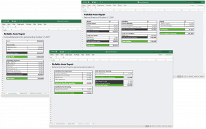 Accounting using Excel spreadsheets.
