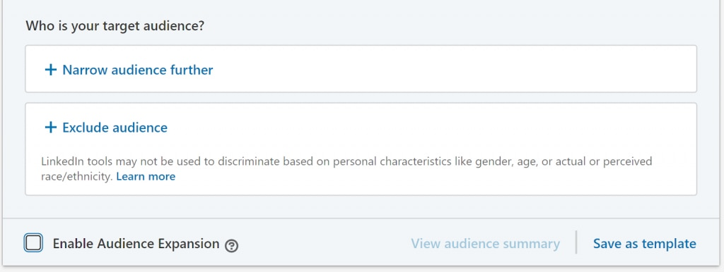LinkedIn advertising exclusions.