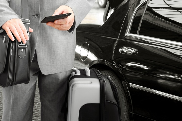 Businessman standing next to car