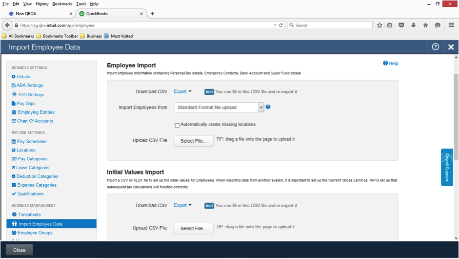 Employee import templates