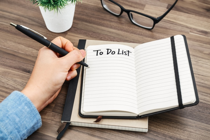 Open journal with to do list as the title