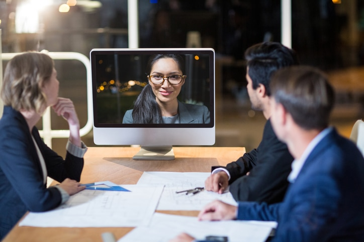 Group of business people on video call