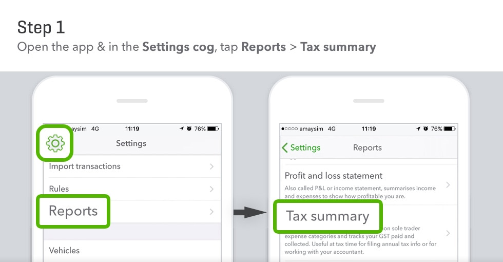 Screenshot showing how to pull report in Quickbooks