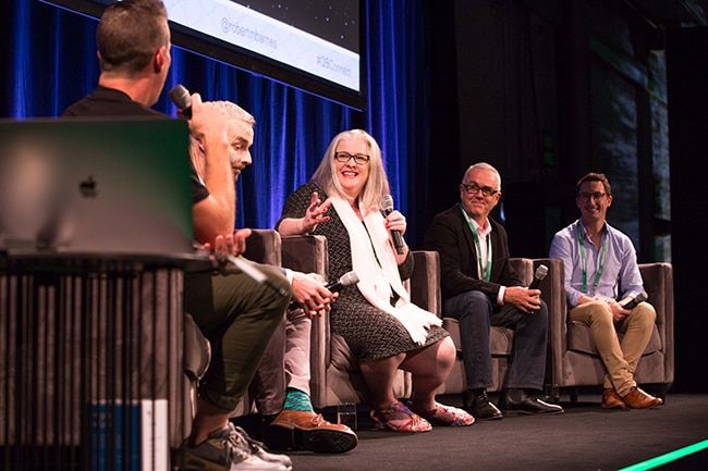 Group of speakers on stage at QuickBooks Connect Sydney