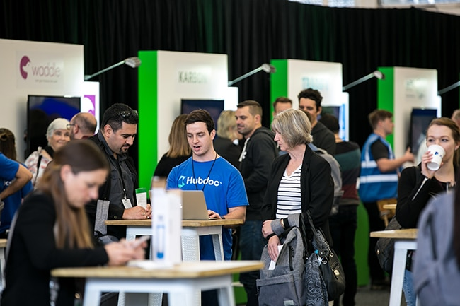 Booths with large crowds at QuickBooks Connect Sydney