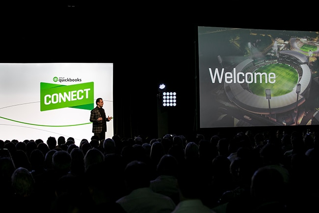 Stage with large crowd at QuickBooks Connect Sydney