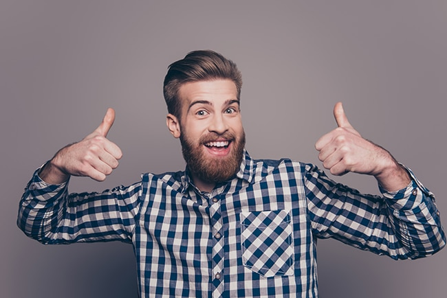 happy funny guy with thumbs up