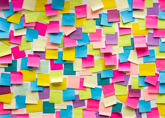 Wall of colourful of post-it notes