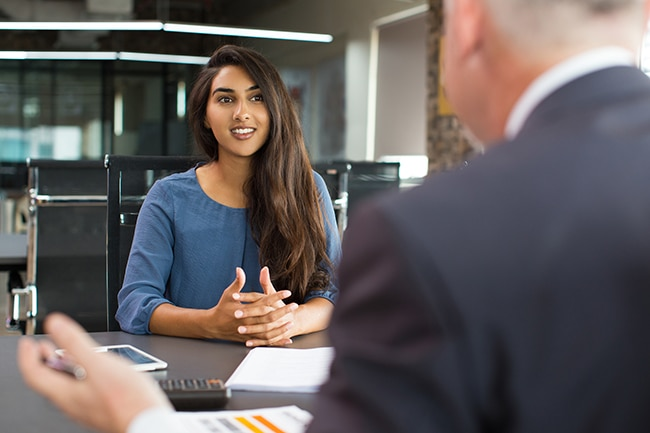 Woman having job interview in office