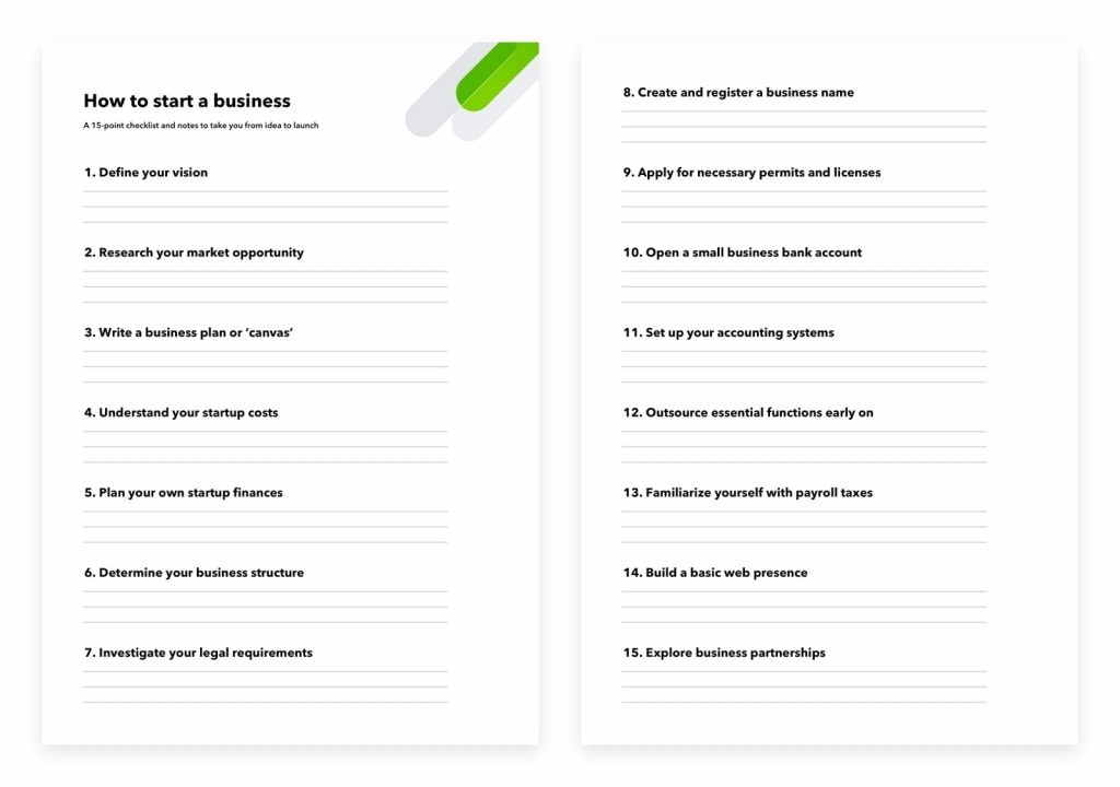 How to start a business checklist.