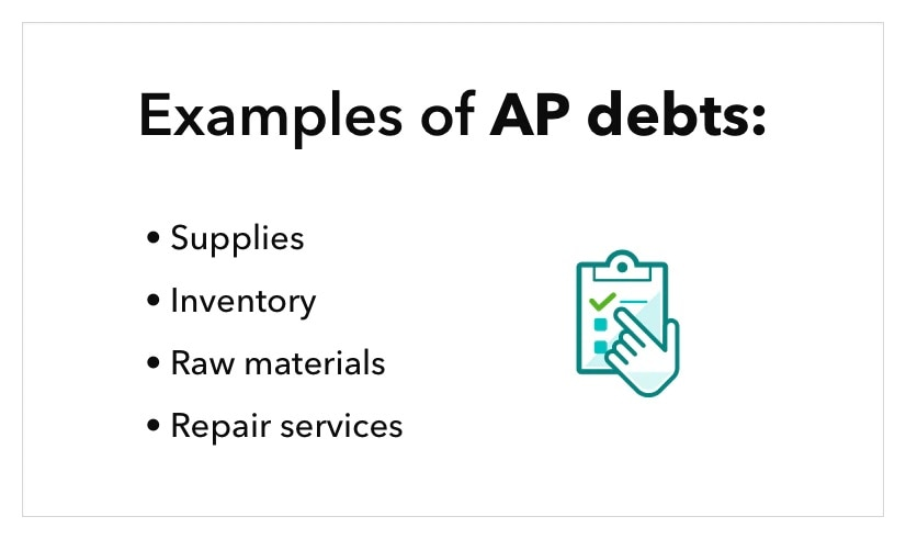 graphic lists text examples of AP debts, including supplies, inventory, raw materials, and repair services, along with illustration of two invoices.