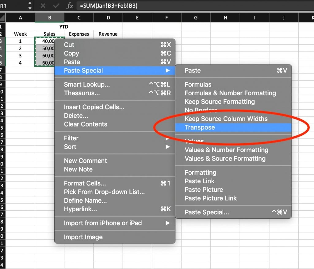 """screenshot of an Excel spreadsheet with dropdown menus showing """"Paste Special"""" option and with """"Transpose"""" option selected."""