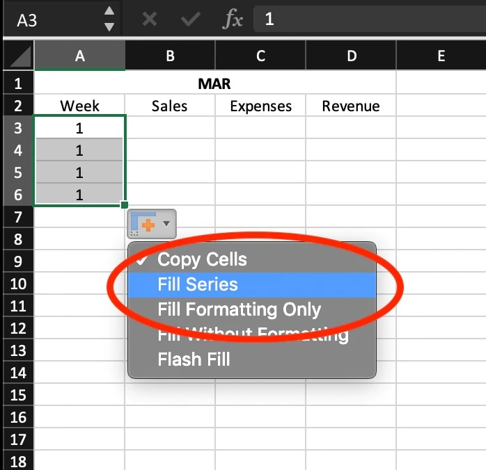"""screenshot of an Excel spreadsheet entitled """"MAR"""" with dropdown menu, and """"Fill Series"""" option selected."""