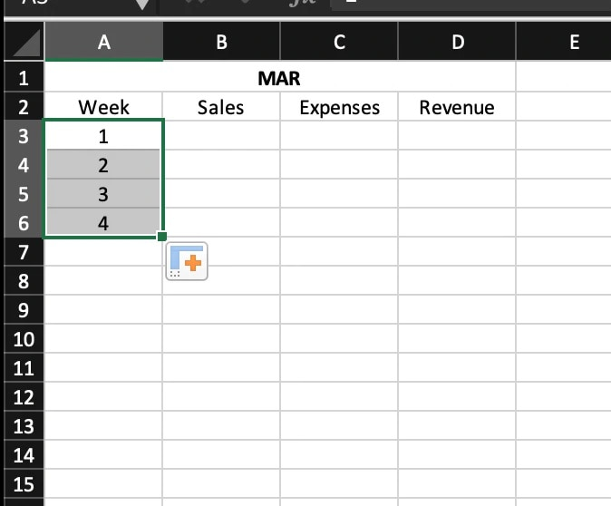"""screenshot of an Excel spreadsheet entitled """"MAR"""" and showing four columns and five rows, with Weeks 1 through 4 highlighted."""