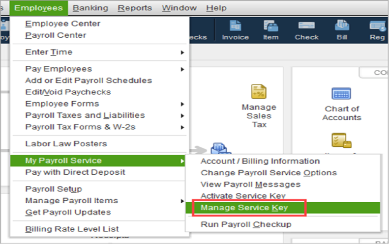 Enter or Edit Your Payroll Service Key
