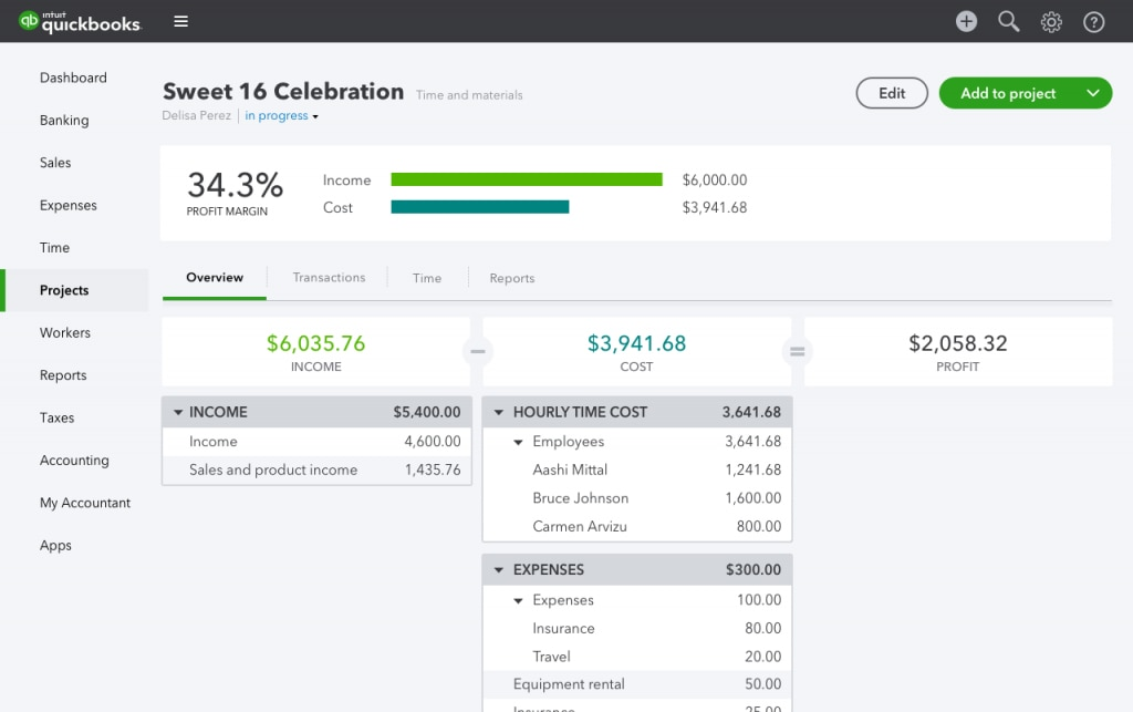 quickbooks online project overview