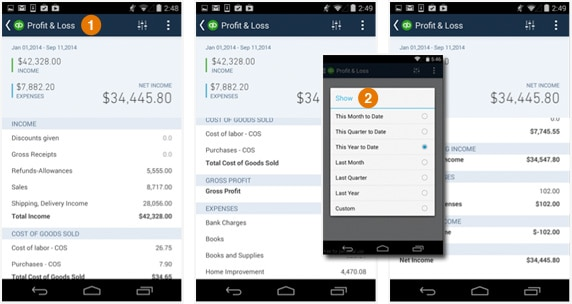QuickBooks Android 3.7 profit and loss report