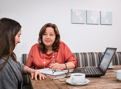 Woman explaining zero-based budgets to her client