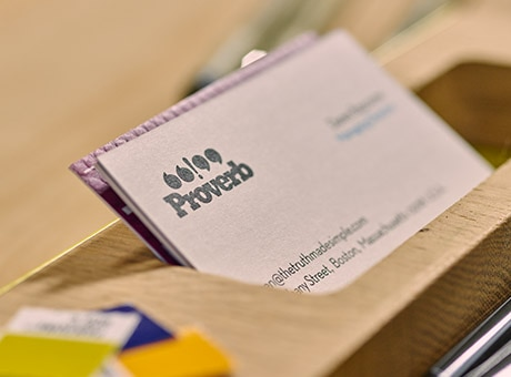 Business card with company name as an example of an intangible asset