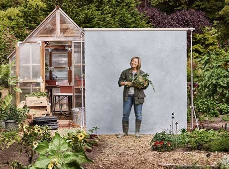 Woman on social assistance poses at her new garden business