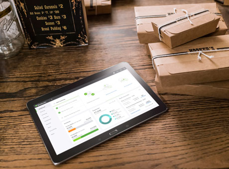 Artificial intelligence app on tablet for an ecommerce business