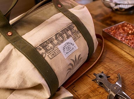 Close-up of a bag made by a self-employed artisan craftsman