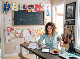Entrepreneur looks for online deals for her home office supplies