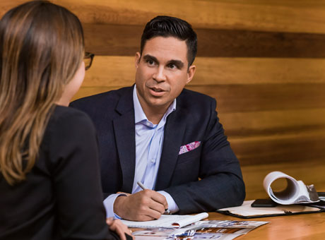 Small business owner conducting a behavioral job interview.