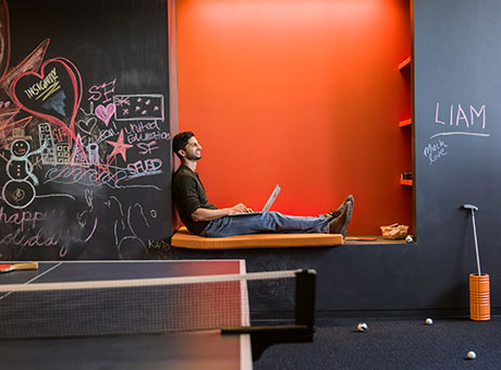 Employee relaxing during an afternoon slump