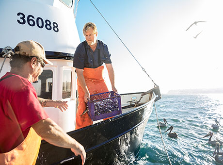 Fishery professional discusses loan options with colleague on boat