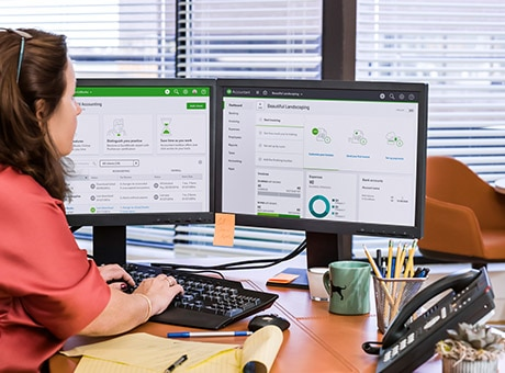 Small business owner uses accounting software