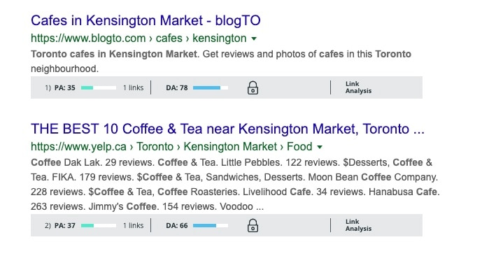 Search results for Cafes in Kensington Market with a high page and domain authority