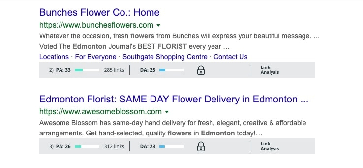 Search results for florists in Edmonton with low page and domain authority