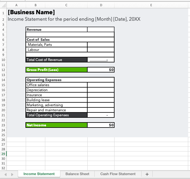 Image of excel file with all three financial report templates