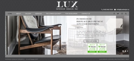 Interior design website with phone number and email address static in top navigation bar