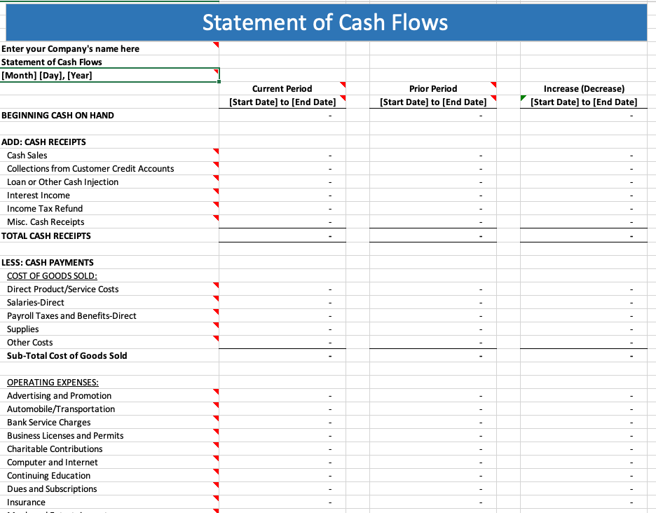A Guide To Cash Flow Statements With Template Quickbooks Canada