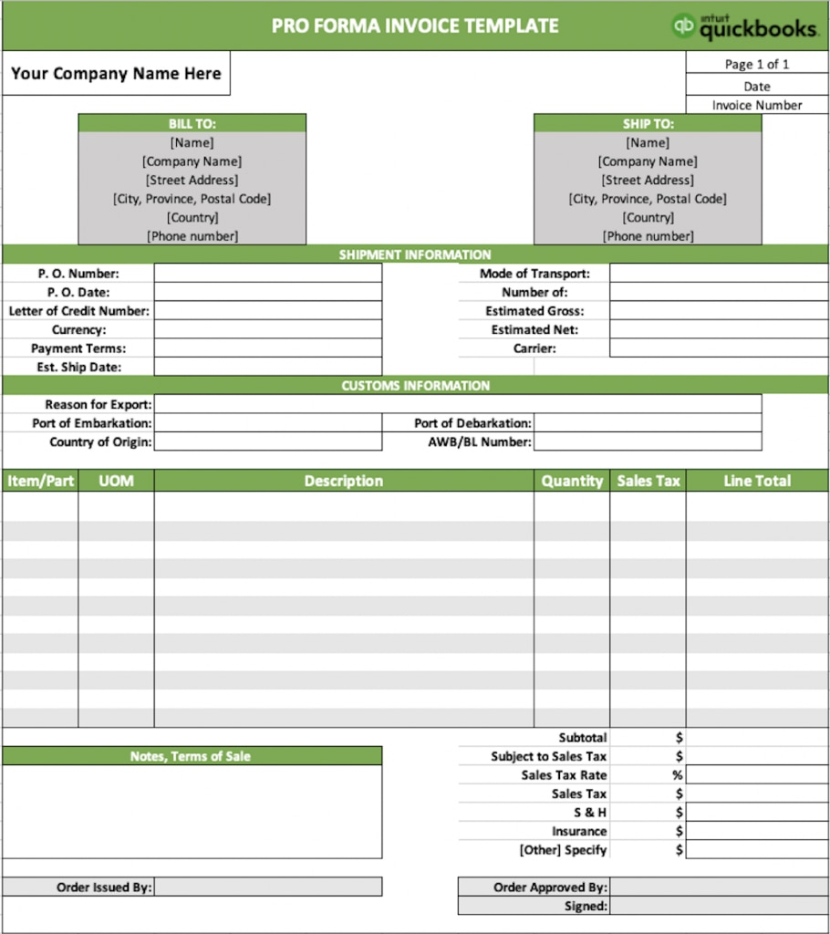 example of pro forma invoice