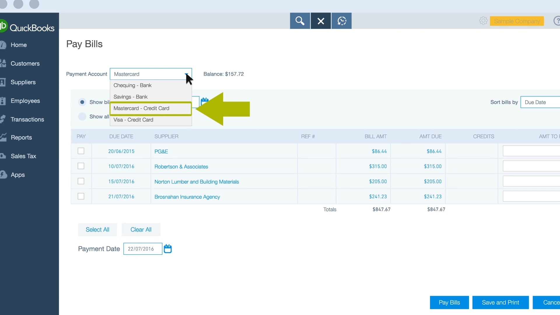 In the upper left-hand side of the Pay Bills screen, you'll see a drop-down  menu labelled Payment Account. Click on the drop-down menu and select the  ...