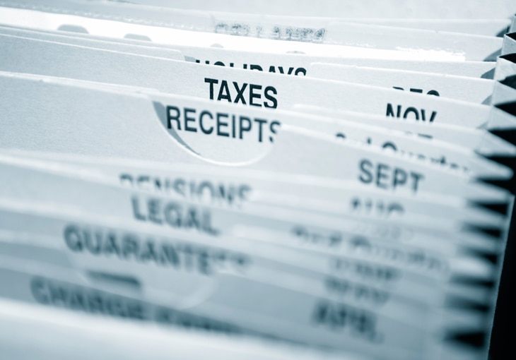 Group of folders with the folders for tax and receipts