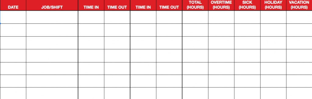 Weekly timesheet - define the format of the information.