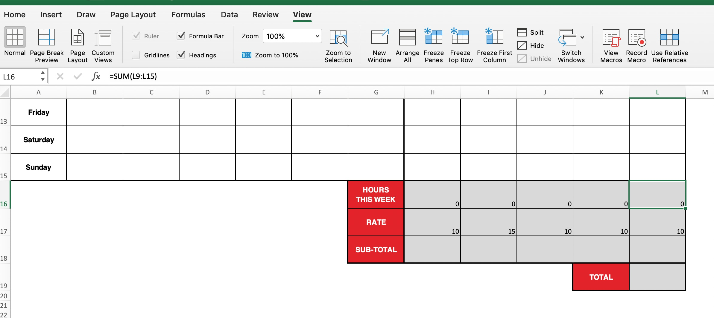 How to create an excel timesheet.