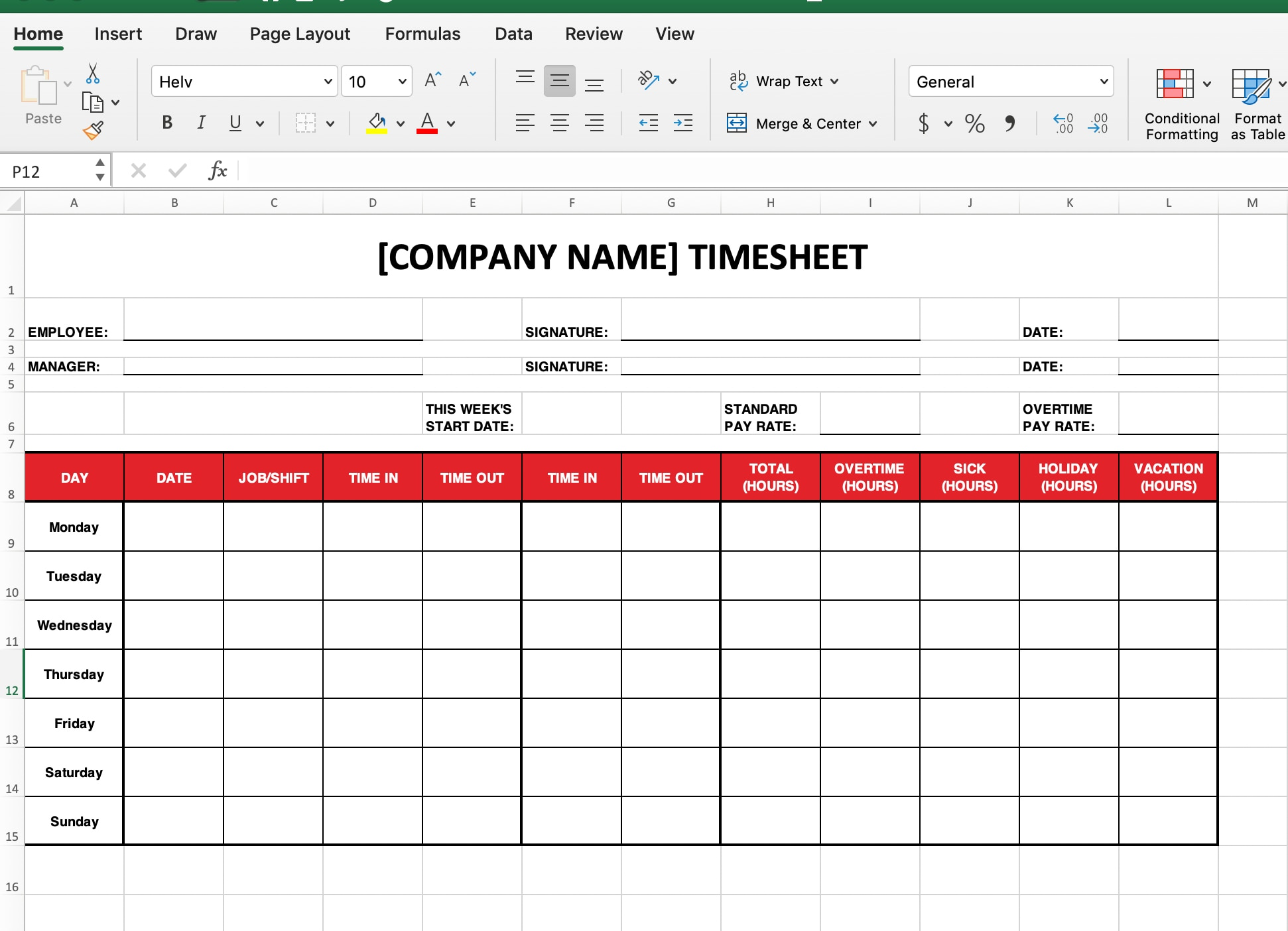 Adding time sheet labels in excel.