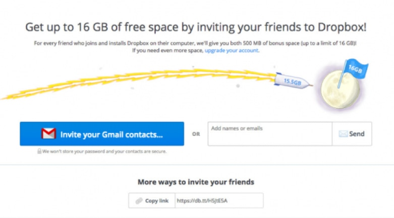 Dropbox using word-of-mouth marketing to great effect.