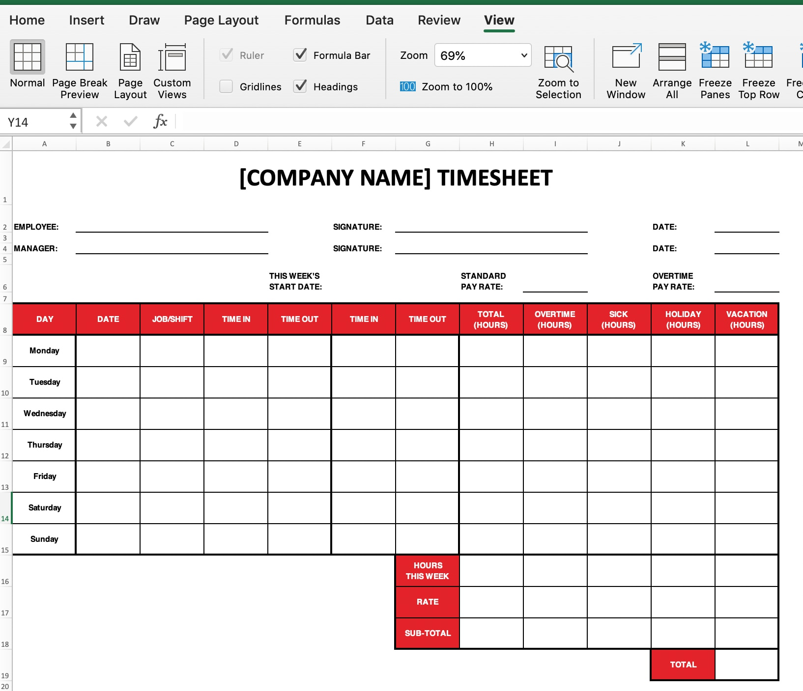 How to print excel timesheet.