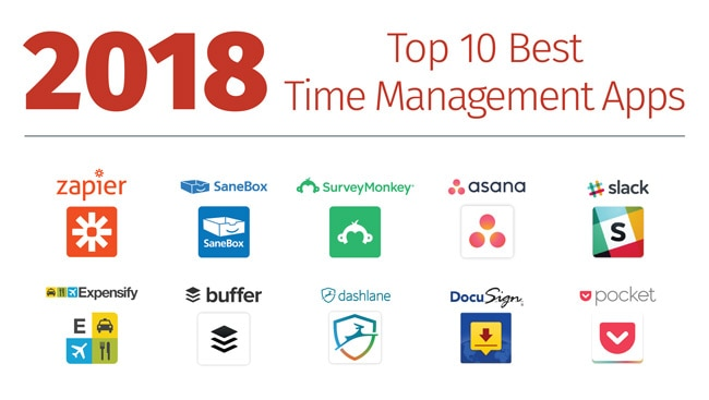 Logos of time management app winners.