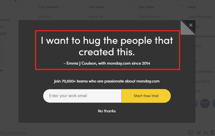 An example of word-of-mouth marketing from Monday.com