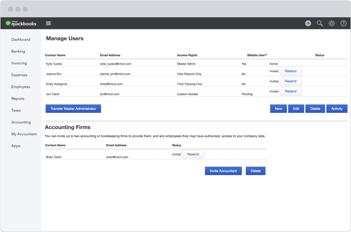 multiple users and access levels in quickbooks