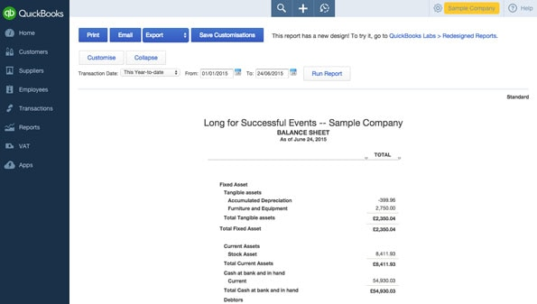 small business balance sheet example