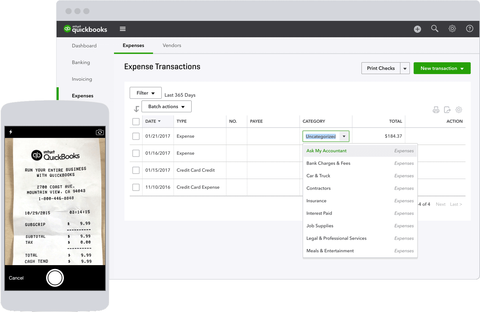 track expenses business expense tracking